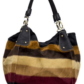 Brown Striped Faux Fur Patterned Purse