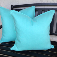 Solid Aqua Pillow Covers in European Linen with Self Welt