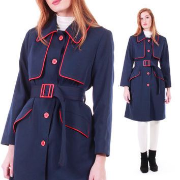 60s Vintage Navy Blue Trench Coat Belted Mid Length Mod Retro All Weather Raincoat Winter Clothing Women Size Medium