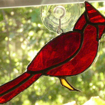 Stained Glass Red Cardinal Suncatcher