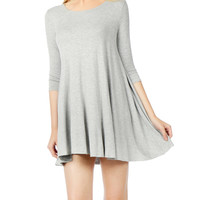 Classic Scoop Neck 3/4 Sleeve Tunic Dress (CLEARANCE)