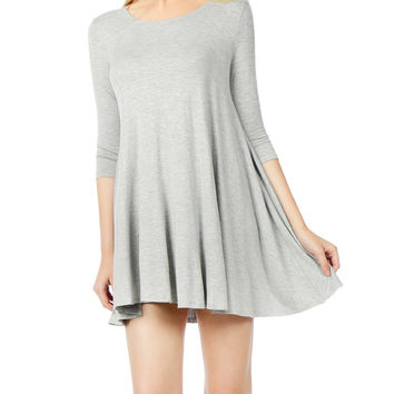 LE3NO Womens Classic Scoop Neck 3/4 Sleeve Tunic Dress (CLEARANCE)