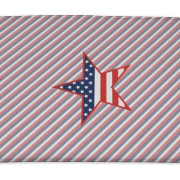 Bath Mat, Us Patriotic Stars Pattern On Red And Blue Stripes American Patriotic Wallpaper