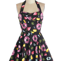 Halter A-line Traveling Cupcake Truck Dress in Floral Fruit
