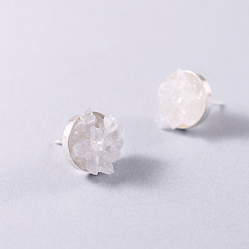 Silver quartz crystal stud earrings rough gemstones by NatureLook