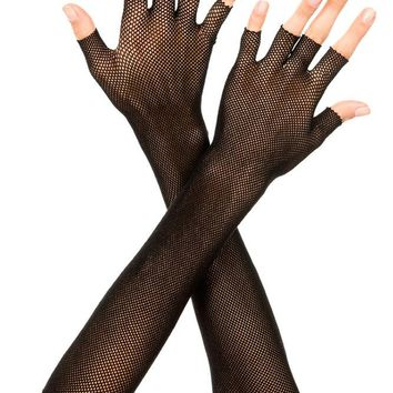 Fishnet Mesh Gloves 2 Colors Fingerless Elbow Length