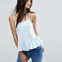 ASOS PETITE Cami with Satin Frill Hem at asos.com