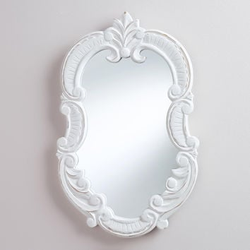 White Oval Adella Scroll Mirror