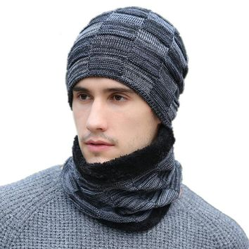 Casual Knitted Hat With Neck Warmer For Men