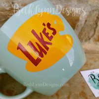 "GLITTER!  ""Mint Green"" - Original Luke's Diner Inspired stoneware Big Mug with VINYL decal logo on BOTH sides!  New with glitter!"