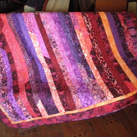 Jelly Roll Race Quilt Handmade Quiltsy Flair Bali Batik Red Purple Blue