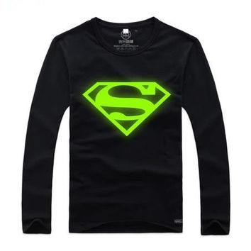 Superman T-shirt,Men's,Green Light T-shirt,Fluorescent sand Night Light,fashion clothes = 1946236868