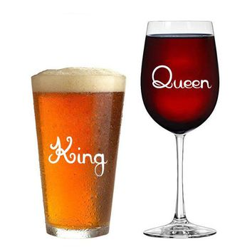Cool 10 pcs/set of King & Queen Wine glass jar wedding Stickers Vinyl Removable Kitchen Wall tile Stickers Birthday Decoration XX029AT_93_12