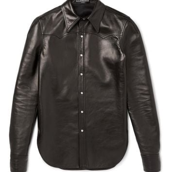 balenciaga slim fit leather western shirt 2