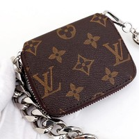 Free Shipping-LV new classic old flower retro thick metal chain small square bag