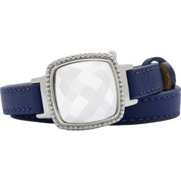 Ela Stainless Steel Cushion Italian Marble Agate Navy Blue Leather Wrap Bracelet