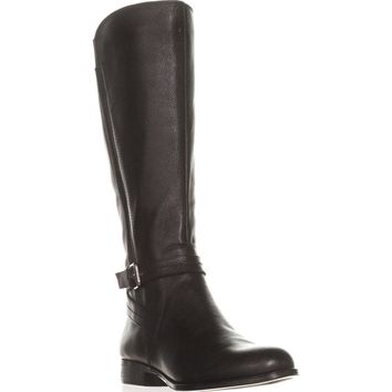 naturalizer Jelina Wide Calf Riding Boots, Black Leather, 10 WW US