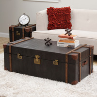 Journey Black Croc-embossed Leather Trunk Coffee Table