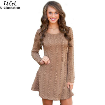 2016 Casual Knitted Sweater Dresses Women Long Sleeve pullover Round Neck Bodycon Irregular Khaki/Beige Loose Sweater Dress