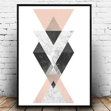 Triangle decal, geometric poster, abstract wall print, watercolor print, marble art, scandinavian decor, minimalist print, modern home art,