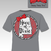 Sassy Frass Heart of Dixie Alabama State Bow Girlie Bright T Shirt