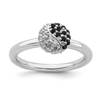 Sterling Silver Stackable Expressions Yin Yang White Topaz & Onyx Ring