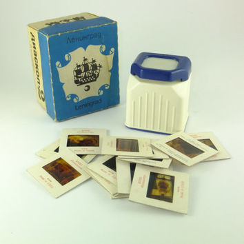 Vintage Russian Diascope,Photography Slide Viewer, Soviet Film Viewer, White and Blue, 35 mm, Accessory For Photography Boxed