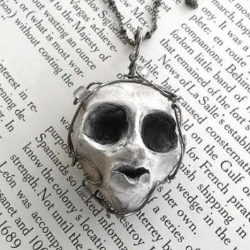 Halloween Jewelry - Steampunk Jewelry - Creepy Jewelry - Wire Jewelry - Weird - Doll Parts - Skeleton Necklace - Horror Art - Scary Doll