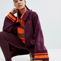 Puma Hooded Sweat Jacket In Burgundy at asos.com