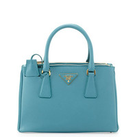 PRADA - Saffiano Mini Double-Zip Crossbody Bag, Turquoise