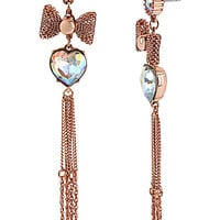 BetseyJohnson.com - HEART MESH BOW EARRING MULTI
