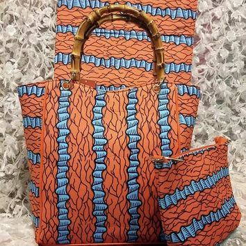 Flower Ankara African Print and Bag with Wallet
