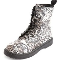 Animal Print Lace-Up Welt Bootie by Charlotte Russe - Classic Leopard