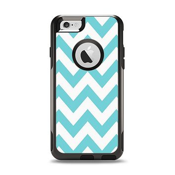 The Subtle Blue & White Chevron Pattern Apple iPhone 6 Otterbox Commuter Case Skin Set