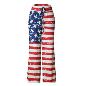 Independence Day American flag print wide leg casual pants women trousers bottoms loose sweatpants home palazzo pants