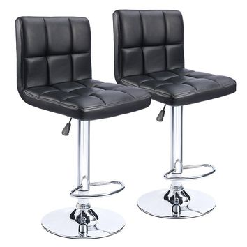 Bar Stools Swivel Black Bonded Leather Height Adjustable Pub  Bar Chair Furniture, Set of 2
