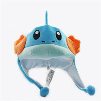 New Pokemon Center Anime Cosplay Mudkip Soft Plush Warm Hat