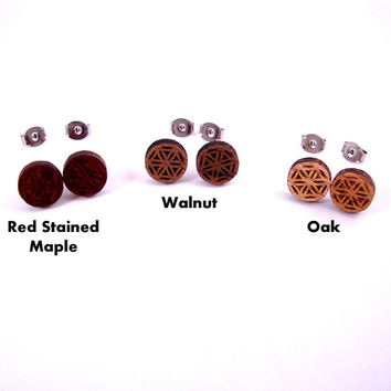 Flower of Life Sustainable Wooden Post Earrings - Walnut Wood Studs