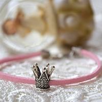 Crown bracelet Pandora charm princess leather girls accessory
