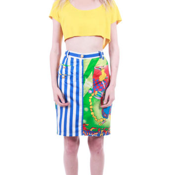 90's Vintage Versace Jeans Couture High Waist Skirt Colorful Abstract Jazz Age Medusa Authentic and Rare Clothing Womens Size Medium