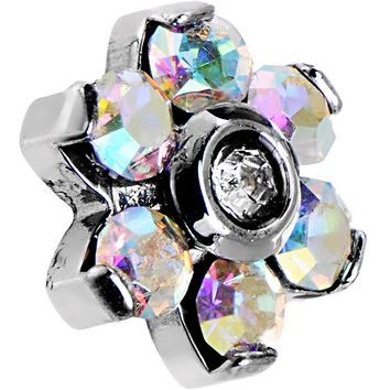 14 Gauge 5mm Aurora Gem Flower Dermal Anchor Top
