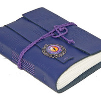 Purple Leather Wrap Journal with Eye Cameo  Bookmark - Ready to Ship