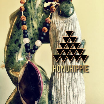 Mala inspired Rudraksha yoga meditation necklace, boho hippie jewelry