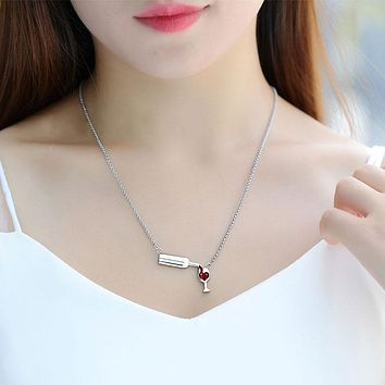 Stainless Steel Wine Glass Pendant Necklace