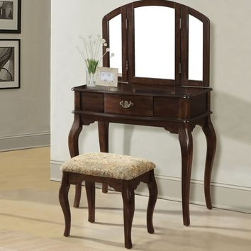 Maren collection cherry finish wood bedroom makeup vanity with tri-fold mirror and stool
