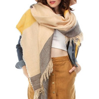 Frayed Color Block Stripes Blanket Scarf - Beige/Yellow, Brown/Gray, or Navy/Red
