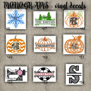 MONOGRAM vinyl decals | name | initial | decal | sticker | car decals | car stickers | laptop sticker - 46-54