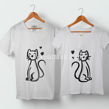 Cats in Love Couple Tshirt size S to 5XL - VEROATTACK