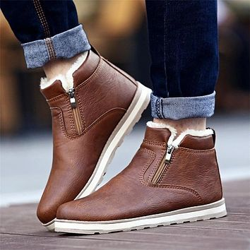 Men Winter Warm Boots Casual Shoes Men Fashion Plush Snow Boots Ankle Boots Fur Leather Footwear