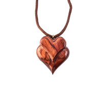 Wooden Heart Necklace, Wood Necklace, Wood Jewelry, Wooden Hearts, Wooden Heart Pendant, Carved Heart Pendant, Hand Carved Wooden Heart
